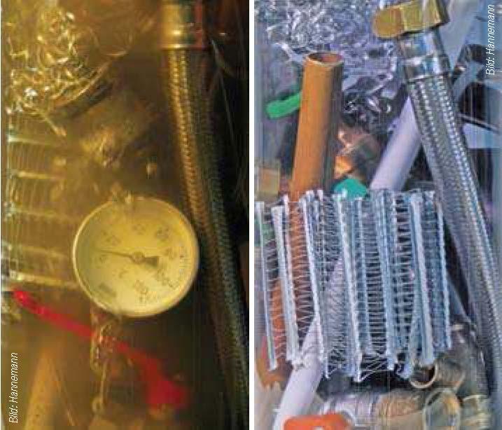 Vergleich von verschmutztem und sauberen Heizungswasser