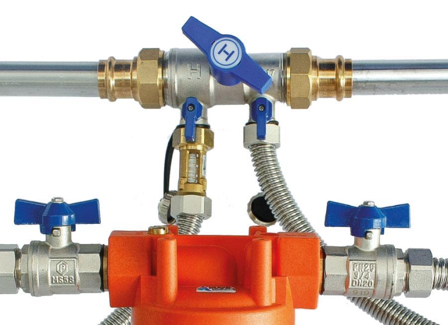 Henry HF10, Heizungsfilter, Bypass Armatur eingebaut am Heizungsfilter (Heizungswasserfilter)